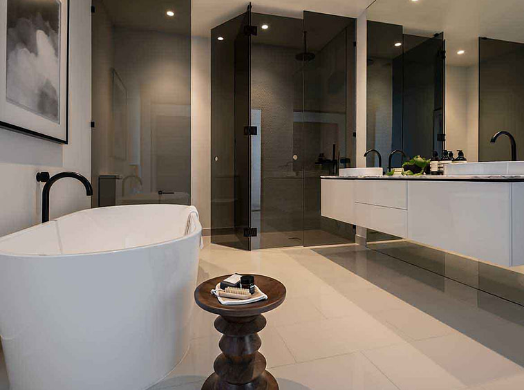 Porcelain tiles in bathroom